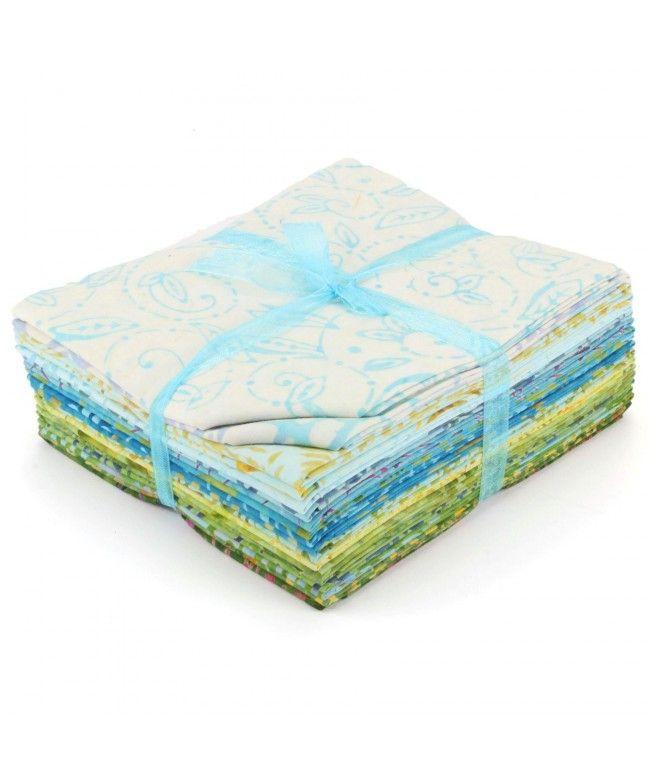 LOUDelephant Cotton Batik Fat Quarter Pre Cut Fabric Bundle - Blues & Greens
