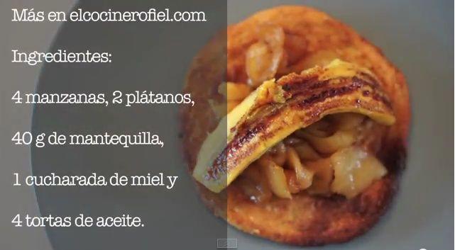 Torta de Aceite Sin Azúcar de Inés Rosales con plátano y manzana