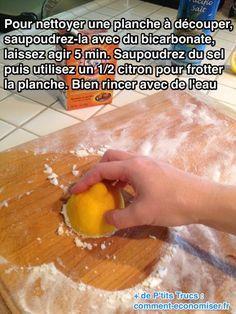 Pour nettoyer votre planche et enlever les mauvaises odeurs d'oignon et d'ail, l'astuce est toute simple. Il suffit d'utiliser 3 ingrédients naturels : le bicarbonate, le citron et le sel.  Découvrez l'astuce ici : http://www.comment-economiser.fr/nettoyer-planche-decouper-bicarbonate.html?utm_content=bufferc48cd&utm_medium=social&utm_source=pinterest.com&utm_campaign=buffer