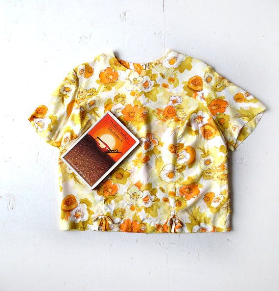 1960s Goldblumen floral print blouse with bows at waist