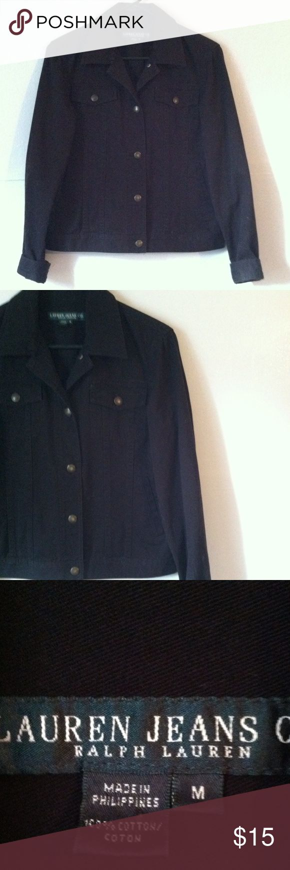 Ralph Lauren black Jean jacket Medium •Excellent used condition •Button closure •Pockets on each side •Full length sleeves with button cuffs •Denim/ Jean material •Color: Black •Brand: Ralph Lauren •Size: Medium •NO TRADES Ralph Lauren Jackets & Coats Jean Jackets