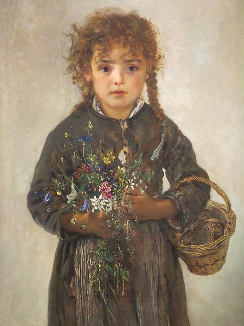 """""""Girl with Alpine Flowers in Bad Gastein"""" (with detail), Anton Romako."""