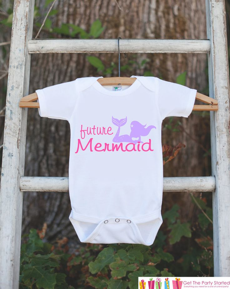 Future Mermaid Bodysuit - Novelty Shirt For Toddler or Newborn Baby Girls - Mermaid Onepiece Birthday Outfit - Mermaid T-shirt in Pink