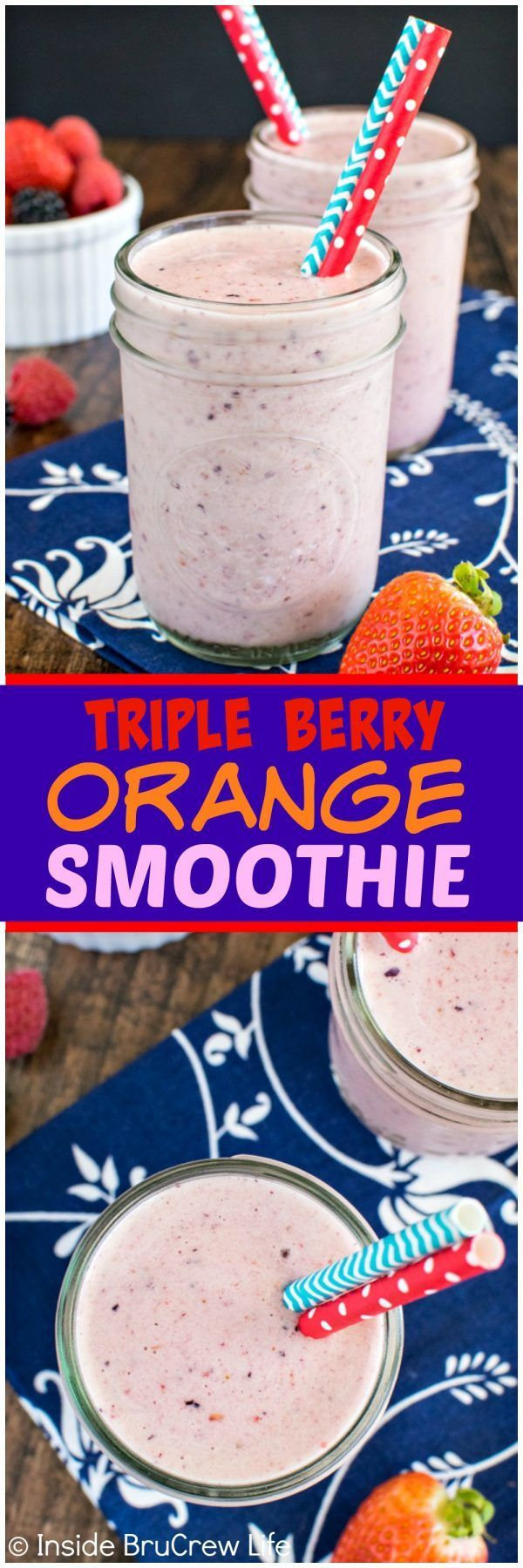 Triple Berry Orange Smoothie - three kinds of fruit, yogurt, and protein make this smoothie a healthy choice. Great for breakfast or an afternoon snack!