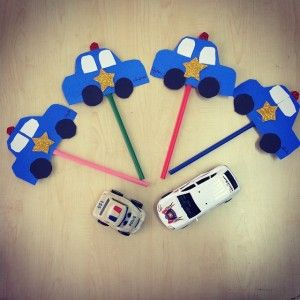 police car puppet craft
