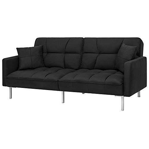 futon linen split back couch tufted with 2 pillows tufted plush rh pinterest com