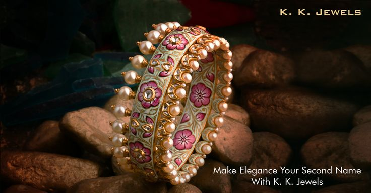 K. K. Jewels presents you a gorgeous bangle crafted especially to grace your beautiful hands. Adorned with Polki diamonds, pearls and exquisite mina work, this piece of jewellery combines majesticity and understated glamour fabulously. What a treasure right? #KKJewels #Jewellery #Ahmedabad