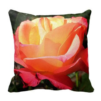 Stunning Yellow and Pink Rose on a Soft Cushion Throw Pillow