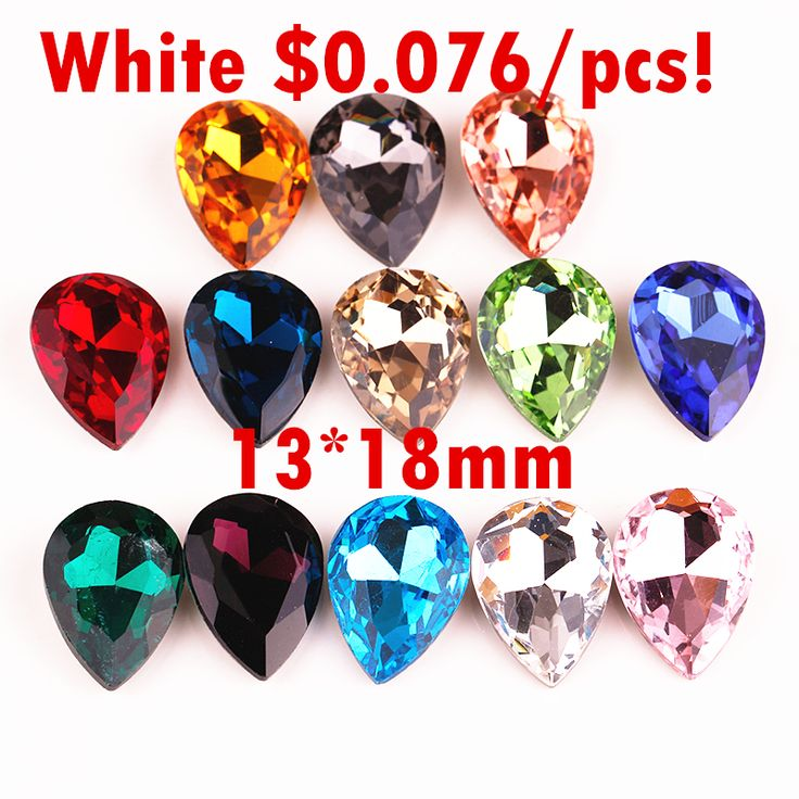 130pcs/pack  13*18mm Pointback Teardrop Crystal DIY Rhinestone Chatons Fancy Stone Glass Glue Phone Jewelry Dress
