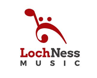 Loch Ness Music Logo design - This logo is the Loch Ness monster made of musical notes. I would suggest for Loch Ness based companies, musicians, music festivals or for anyone who likes it. Price $350.00