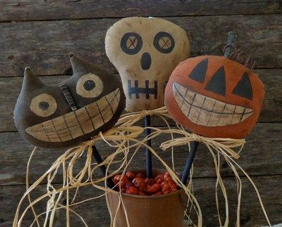 Primitive Halloween Fall Pokes Skeleton JOL Pumpkin Black Kitty Cat | eBay