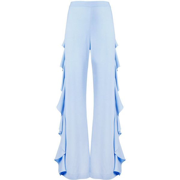 Sara Battaglia draped side detail trousers ($691) ❤ liked on Polyvore featuring pants, blue, sara battaglia, drape pants, blue pants, drapey pants and blue trousers