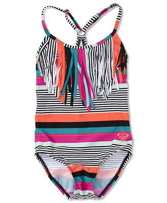Roxy Kids Swimsuit, Little Girls Striped Fringe One-Piece Swimsuit