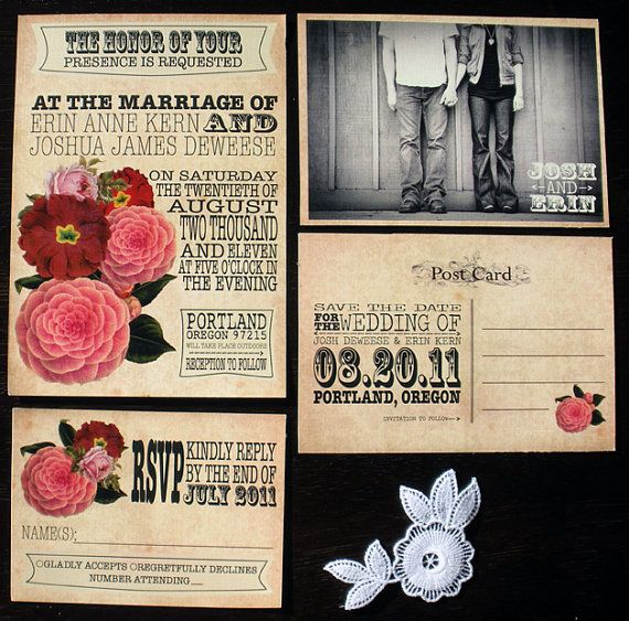 Printable Vintage Wedding Invitation Set