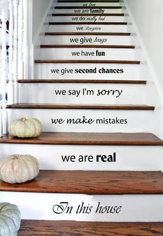 Stair Decals Wall Decals Quotes In This House We Are Real. STAIRCASE Quote  Vinyl Sticker Decal Stairway Home Decor   Family Decals