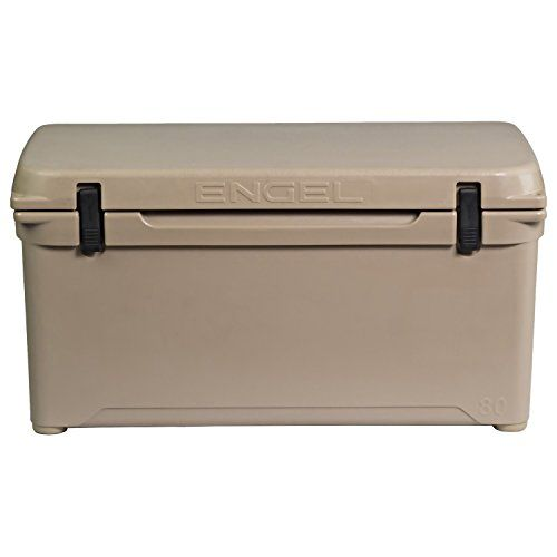 Engel High Performance ENG80 Cooler - Tan. Holds ice for up to 10 days. Best in class ice retention and overall performance with 2 inches of polyurethane insulation all round. IGBC certified bear resistant container - molded on rear lid of cooler. Durable seamless rotationally-molded construction - same as a whitewater kayaks. Silicone airtight gaskets, marine grade compression latches and UV-Resistant Contruction.
