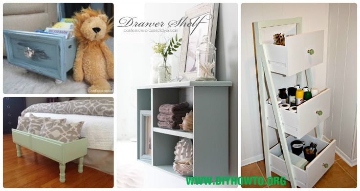 Collection of New Ways to Re-purpose drawers into shelf, bookcase, doll house, pet bed and more