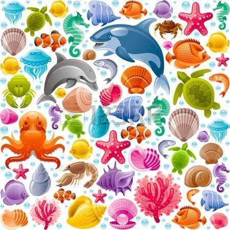 butterfly clip art: viaggi in mare sfondo trasparente con animali subacquee. Delfino, balena killer, stelle marine, coralli, perle, pesci farfalla, conchiglie tropicali, cavallo di mare, polipo, tartarughe marine e altre icone marine Vettoriali