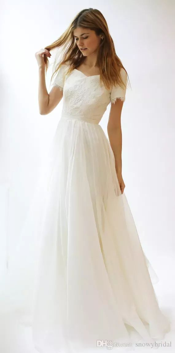 Wholesale wedding gowns pictures, wedding shops and wedding stores on DHgate.com are fashion and cheap. The well-made short sleeves lace chiffon modest wedding dresses 2017 with sleeves sashes a-line summer beach boho wedding gowns simple reception dress sold by snowybridal is waiting for your attention. #modestweddingdresses