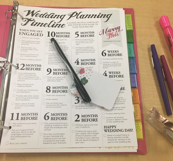 A DIY Wedding Planning Binder to Get Your Big Day Organized | Free Printable Wedding Planning Checklist