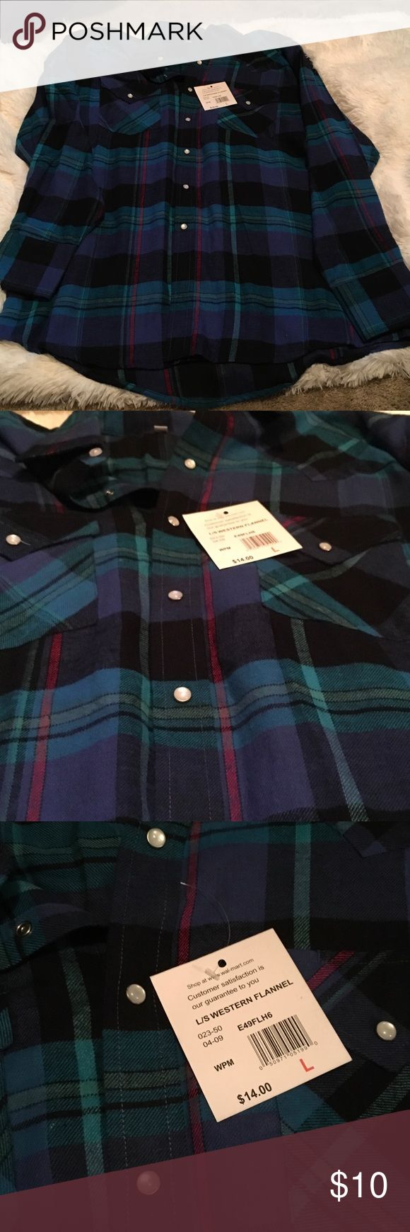 Flannel Shirt Plains Western Wear Large blue flannel shirt. NWT. Snap closure all the way down Tops Button Down Shirts