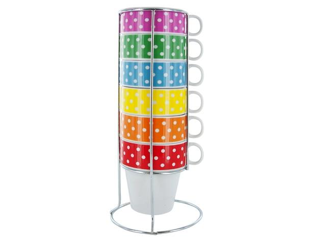 Een handige toren van 6 leuke cappuccino tassen.  Ook ideaal formaat voor Senseo.  Geschikt voor microgolf en vaatwas.