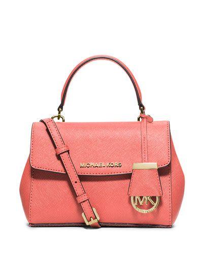 MICHAEL MICHAEL KORS Michael Michael Kors Ava Extra-Small Crossbody Bag, Pink Grapefruit. #michaelmichaelkors #bags #shoulder bags #hand bags #leather #crossbody #lining