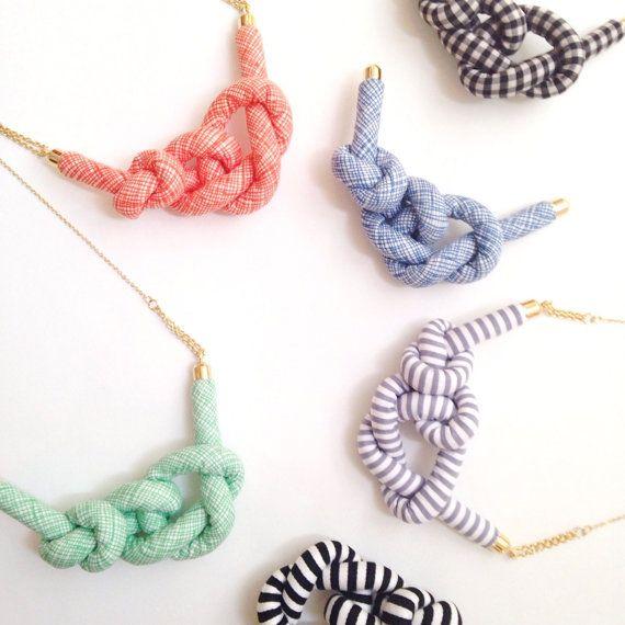 Stripe Rope Knot Necklace BLACK by HOMAKO on Etsy