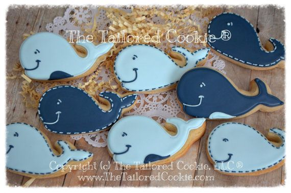 Whale Nautical Shortbread Sugar Cookie Favors, Preppy Whale Favors, Baby Shower Favors, Whale Favors, Navy, Light Blue