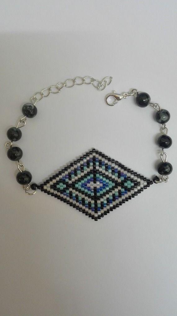 Bracelet argenté -tissage en losange -perles miyuki