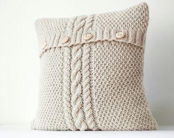 Witte hand gebreid kussen wafel patroon kussensloop door pillowlink