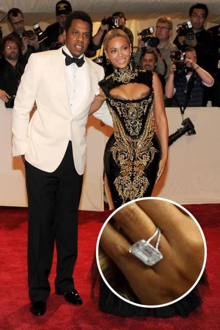BEYONCÉ AND JAY-Z  Jay-Z didn't just put a ring on it—he went above and beyond for wife Beyoncé with a huge 18-carat diamond ring.