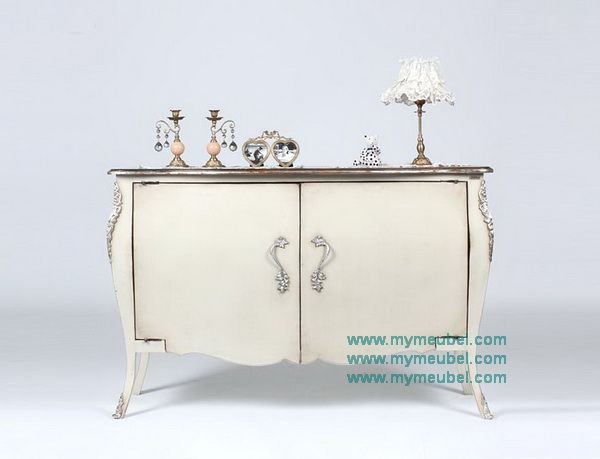 French Antique Style Bombe Chest with 2 Doors