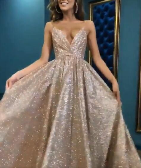 9e5b2a7efd5 2019 Spaghetti Straps V Neck Fairy Sparkly Sequin Modest Prom Dresses