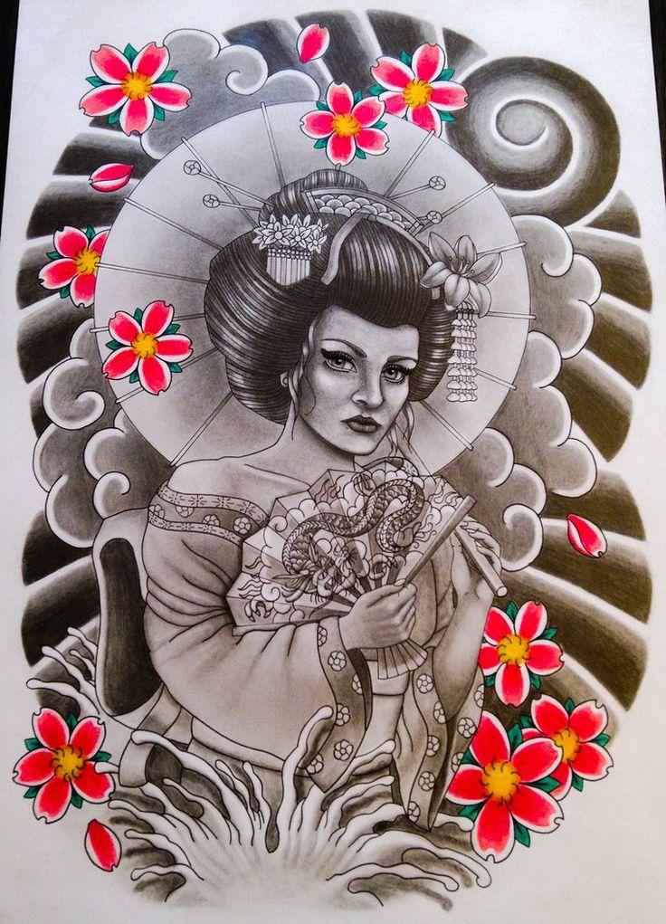 Geisha Yume tattoo draw request 04 by GradArt