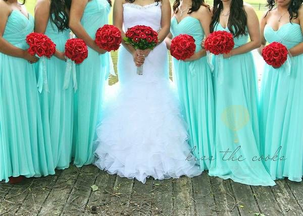 red and blue wedding | ... - Kentucky - Tiffany blue-Red wedding decor, bridesmaid dress, tiara