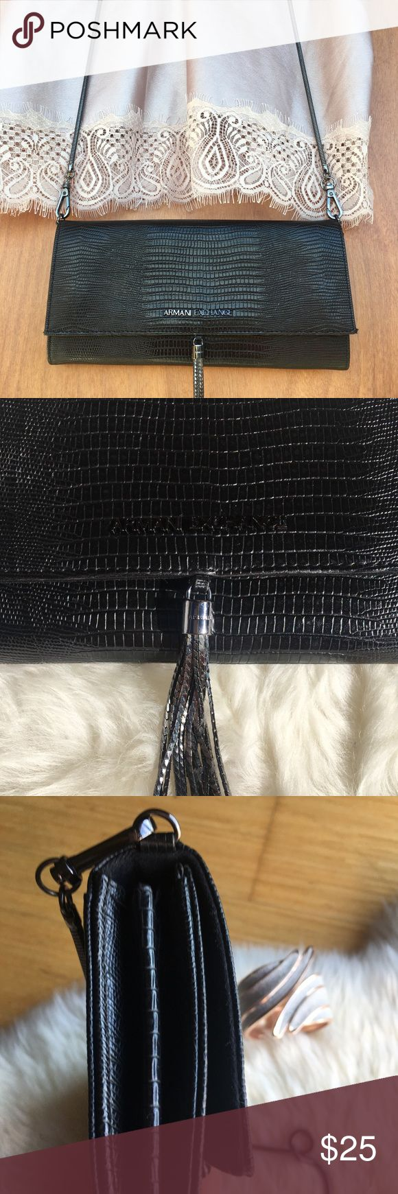 Armani exchange vegan croc crossbody In excellent condition!  💙Black vegan croc leather  💙 heavy metal tassel  💙 matching chain detachable  💙 cross body design  💙 valet pockets inside  PS: top is also available for sale! A/X Armani Exchange Bags Clutches & Wristlets