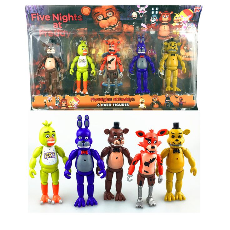 Five Nights At Freddy's  5 Pcs/ lot  5.5 Inch PVC LED Lights Foxy Gold Freddy Chica Freddy Action Figure Toy Birthday gift