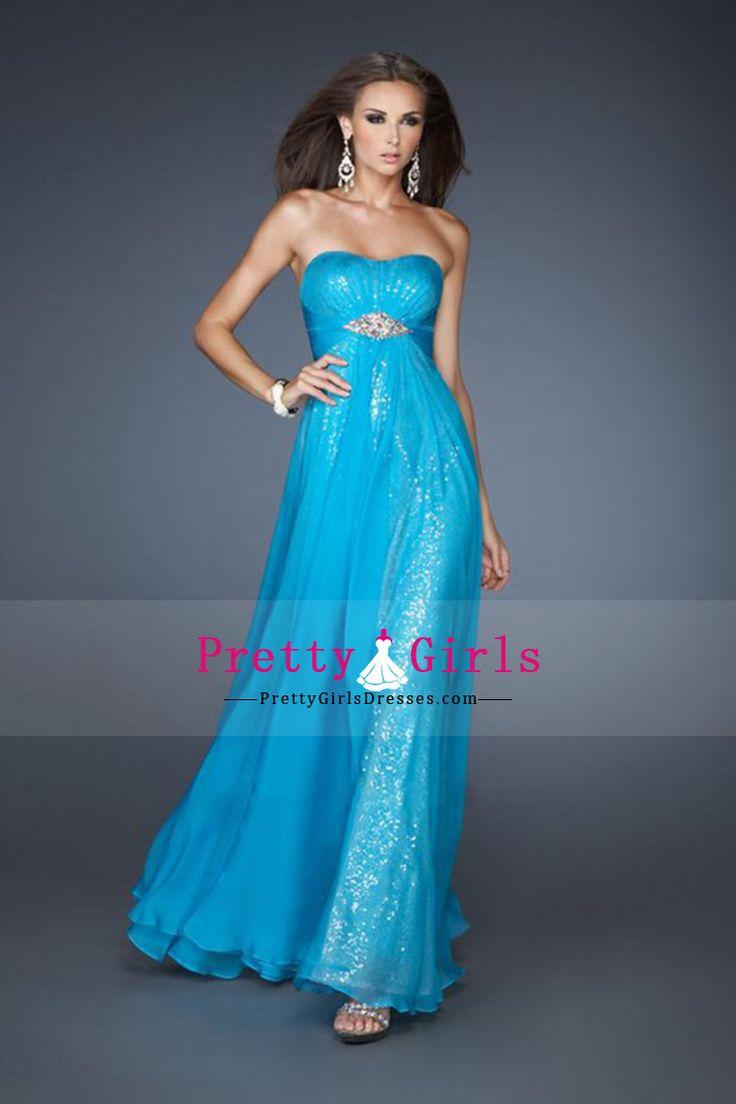 Shimmery Sleeveless A Line Empire Waist Prom Dresses Chiffon With Beading And Ruffles CAD 201.14 PGDP51RQLS7 - PrettyGirlsDresses.com