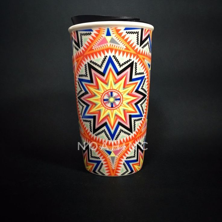 Rare STARBUCKS DOUBLE WALL MUG SUMMER 2017 ORANGE SUNBURST HIPPIES SPIKE w/ SKU  #StarbucksCoffeeCompany