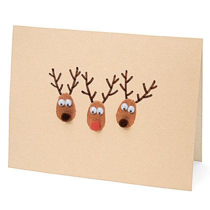 Thumbprint Reindeer | Homemade Christmas Card Ideas | A Homemade Christmas | FamilyFun