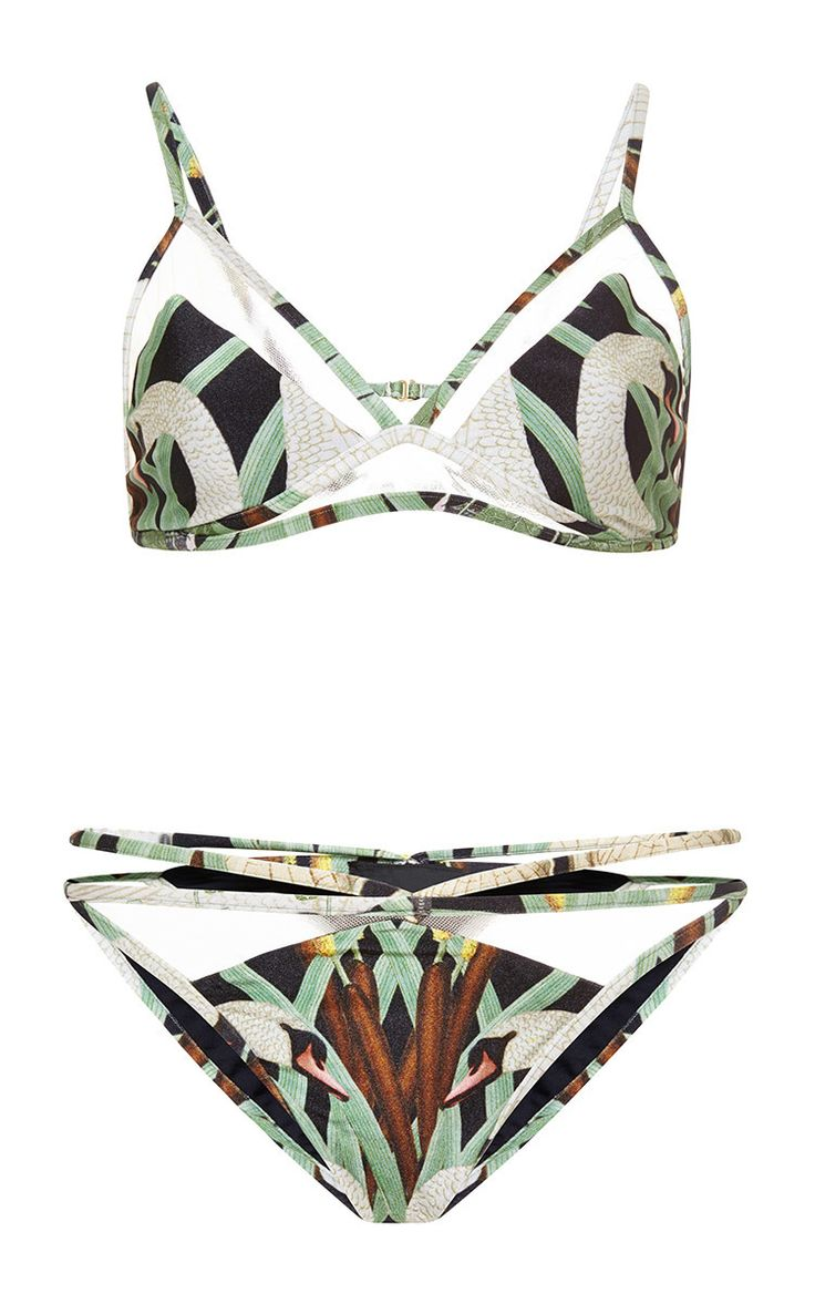 Printed Tulle-Paneled Bikini by Adriana Degreas Now Available on Moda Operandi