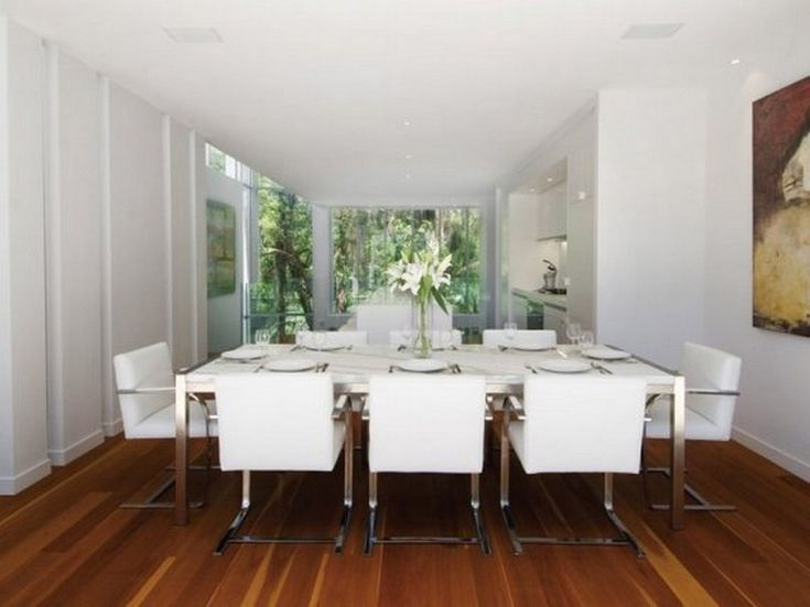 Magnificent White Themed Dining Room Inspirations With Minimalist White  Wood Rectangle Shaped Dining Table That Have Part 62