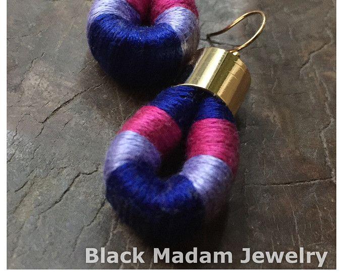L'Egypte MINI - bleu de Cobalt, boucles d'oreilles de corde de coton lilas et rose - africain Tribal ethnique énoncé moderne