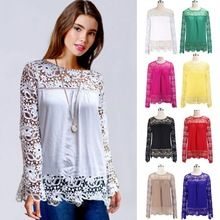 New Sexy Ladies Embroidered Lace Shirt Long Sleeve Women Tops Blouse Best Buy follow this link http://shopingayo.space