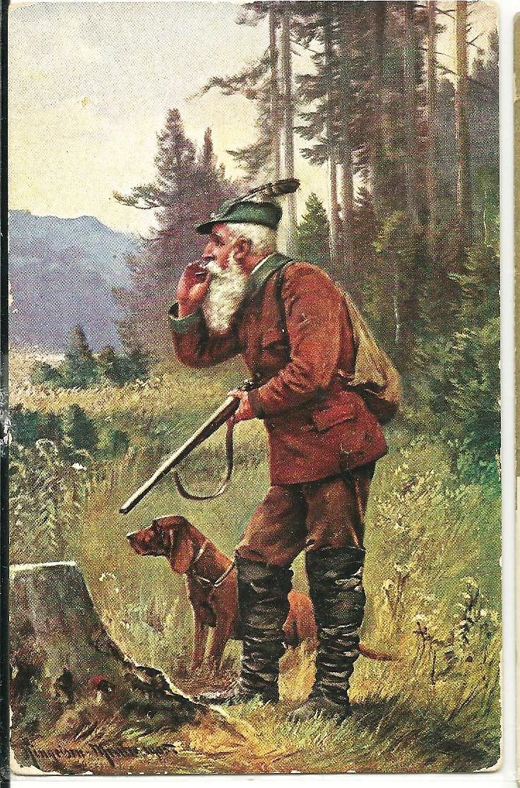 the hunter and his dog, August Müller;  Munich, Germany (1836-1885) - art work &  pricing, pictures and values, art works miniaturized for early post card use,(primarily Bavarian Alps hunt- themed) Postally used in Germany in 1917; SERIES 325