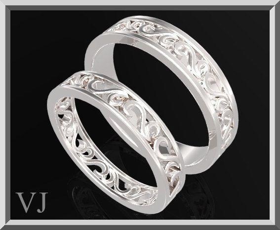 hermoso para él y ella plata a juego anillos de matrimonio establecido