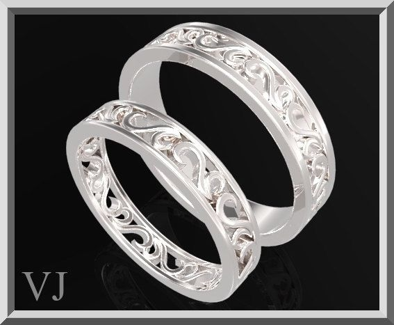 Beautiful His And Hers Silver Matching Wedding by Vidarjewelry, $550.00