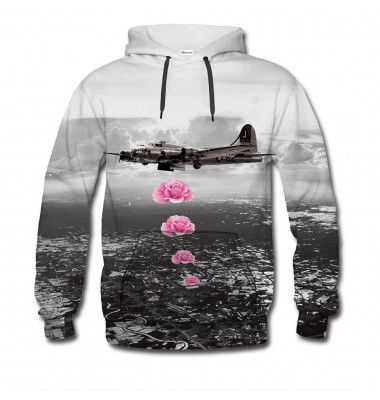We think this graphic is full of contrast. The bright pink shines on the black-and-white background, and is there anything more contrasting to bombs than flowers? State your pacifism with the Banksy jumper. www.bittersweetclth.com