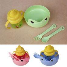 4 unids/set Kid de vajilla productos para bebés, platos, utensilios, tazas, tenedores, juegos de vajilla(China (Mainland))